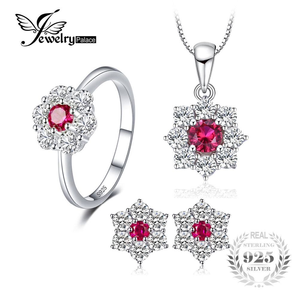 JewelryPalace Flower 3.1ct Created Ruby Halo Ring Stud Earrings Pendant Necklace Jewelry Sets 925 Sterling Silver 45cm Box Chain