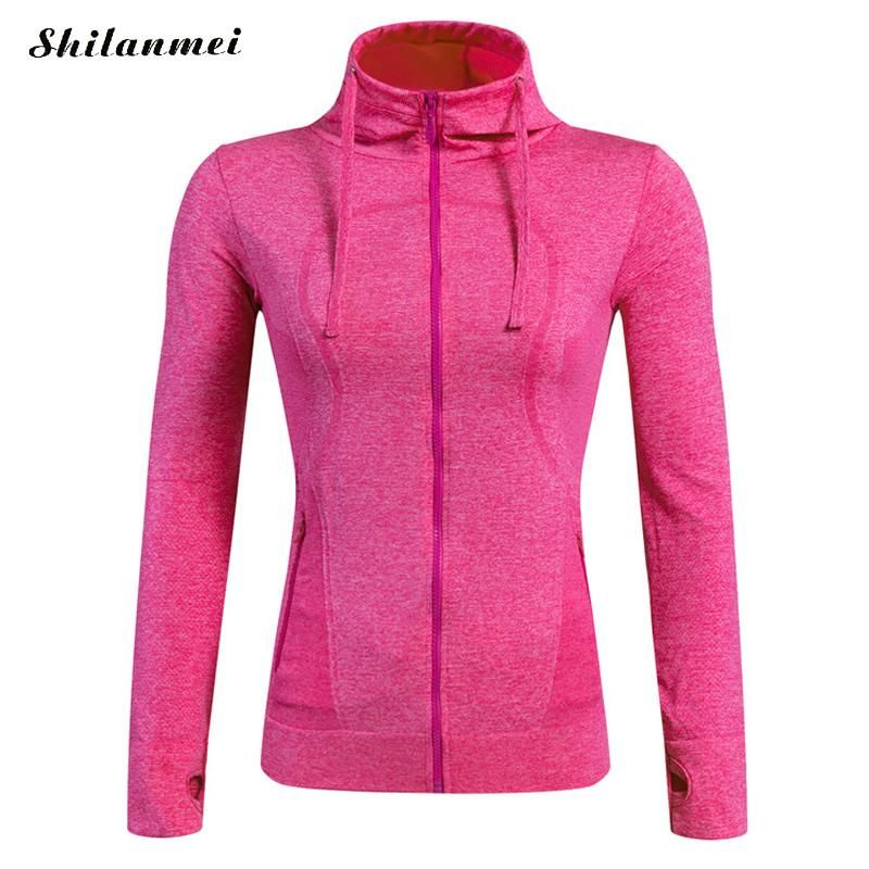 2016 neue Frauen Sport Jacken Zipper Kapuzen Laufen Mantel Quick-dry langarm-kapuzenpulli Fitness Oberbekleidung Top chaquetas