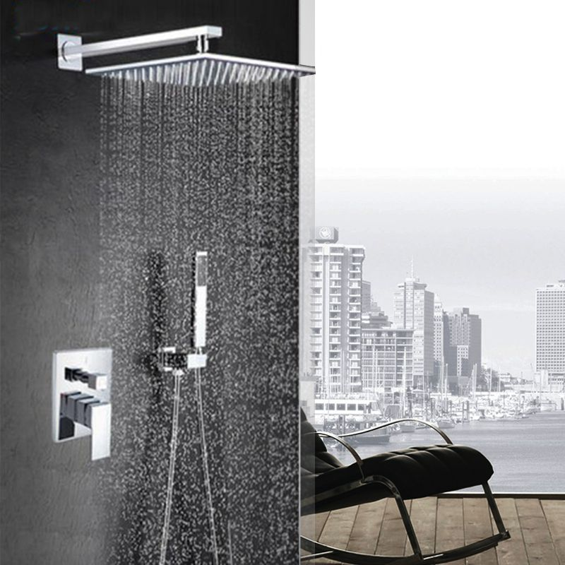Luxury Wall Mounted Bath Shower Set 8 INCH Shower head Single Handle 2 Functions Shower Mixer Tap with Hand shower Sprayer