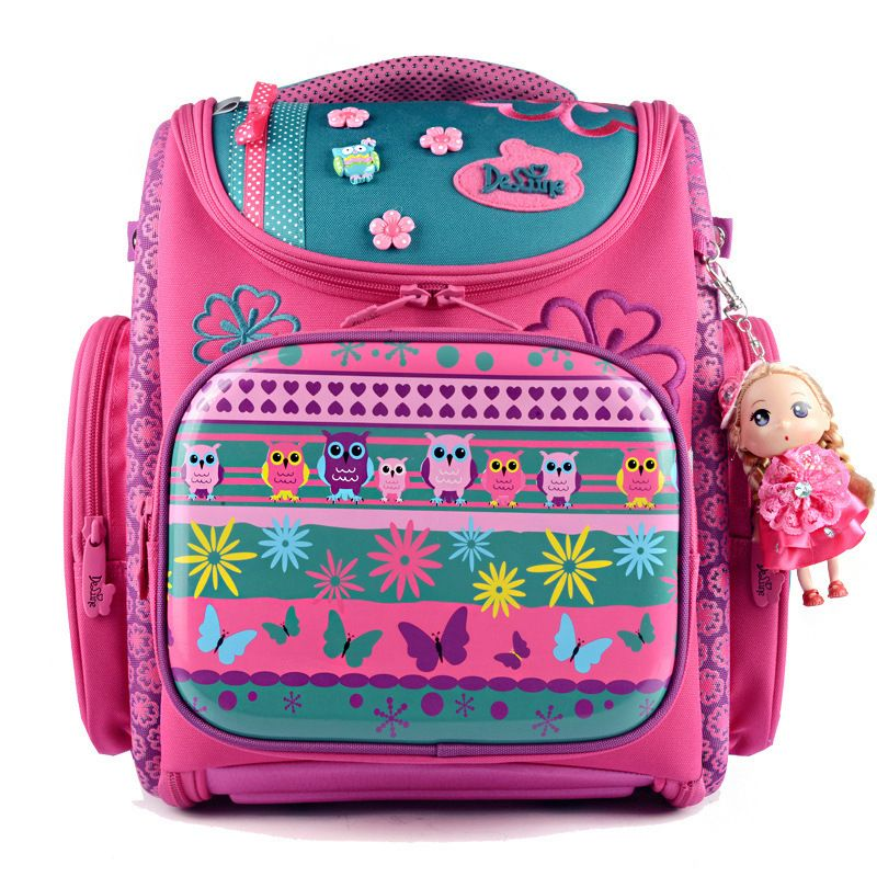 Delune series Hard shell Orthopedic Children unfold school bags for girls school backpack with cartoon dog owl characters