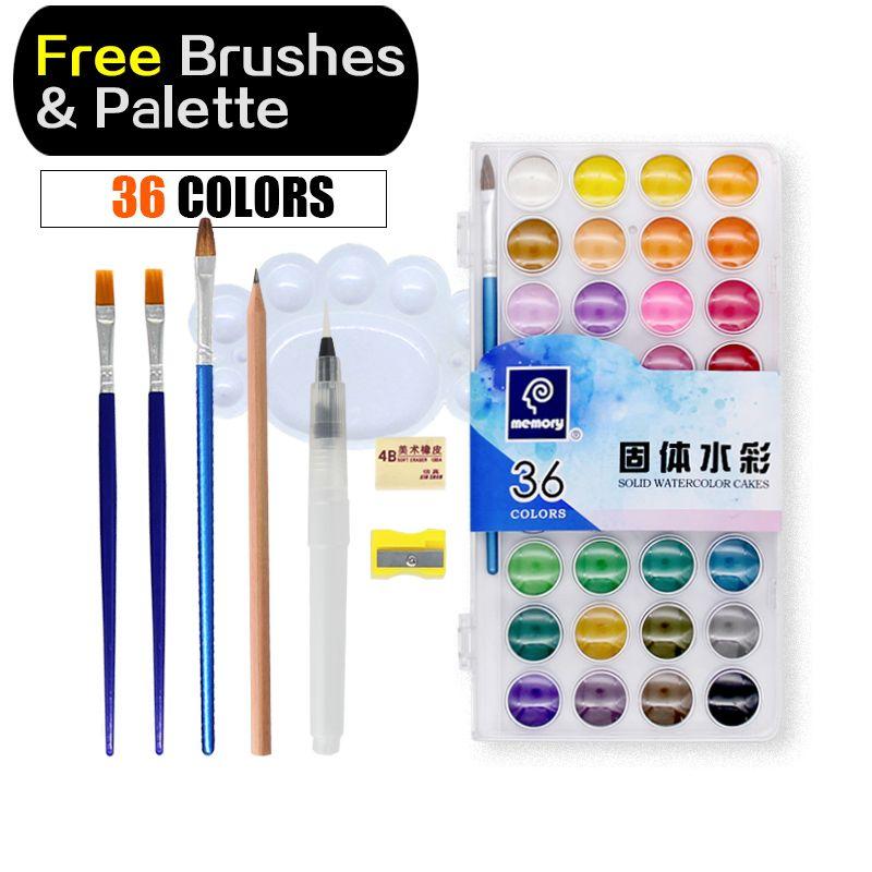 La peinture à l'aquarelle de 36 couleurs de mémoire place les couleurs à l'eau professionnelles pour peindre des fournitures d'art de papier avec la Palette libre de brosses