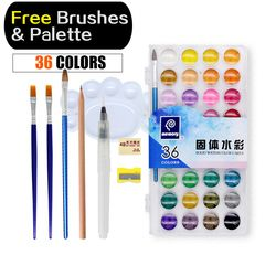 Memory 36 Colors Watercolor Paint sets Professional Water Colors for Painting Paper Art Supplies With Free Brushes Palette