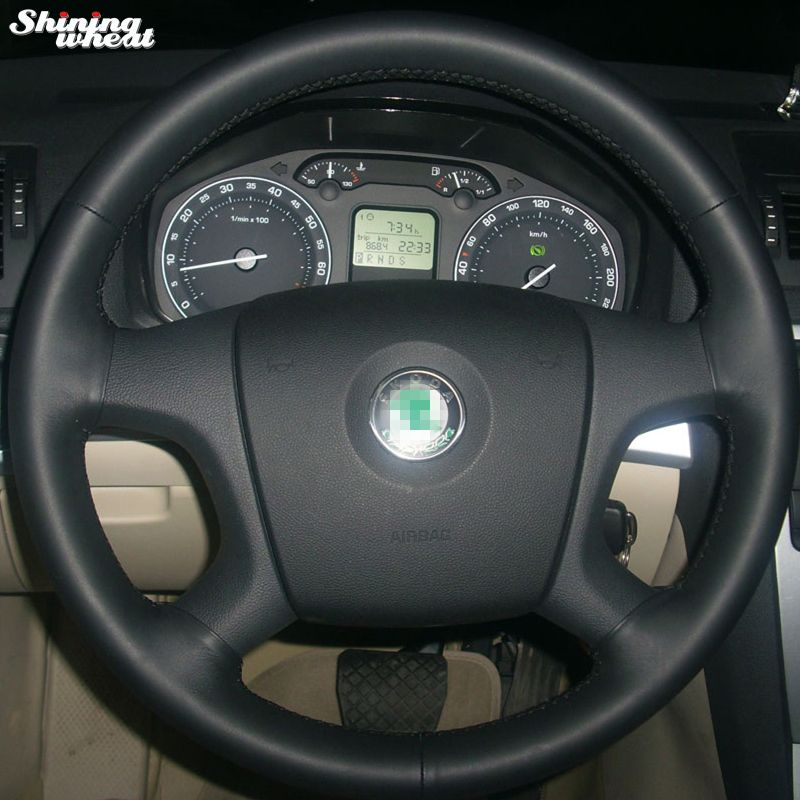 Shining wheat Hand-stitched Black Leather Steering Wheel Cover for Old Skoda Octavia Skoda Fabia