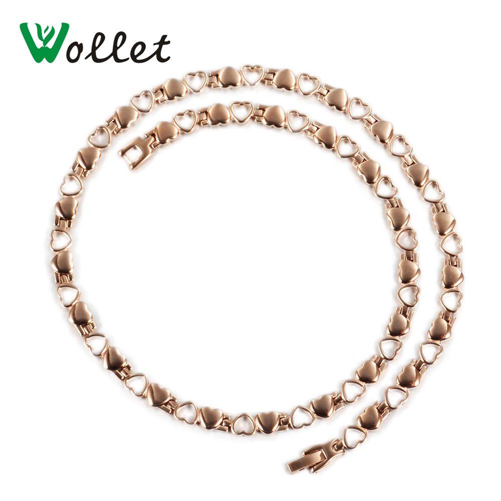 Wollet bijoux magnétique en acier inoxydable collier pour femmes coeur forme or Rose 5 en 1 infrarouge Germanium Ion santé énergie