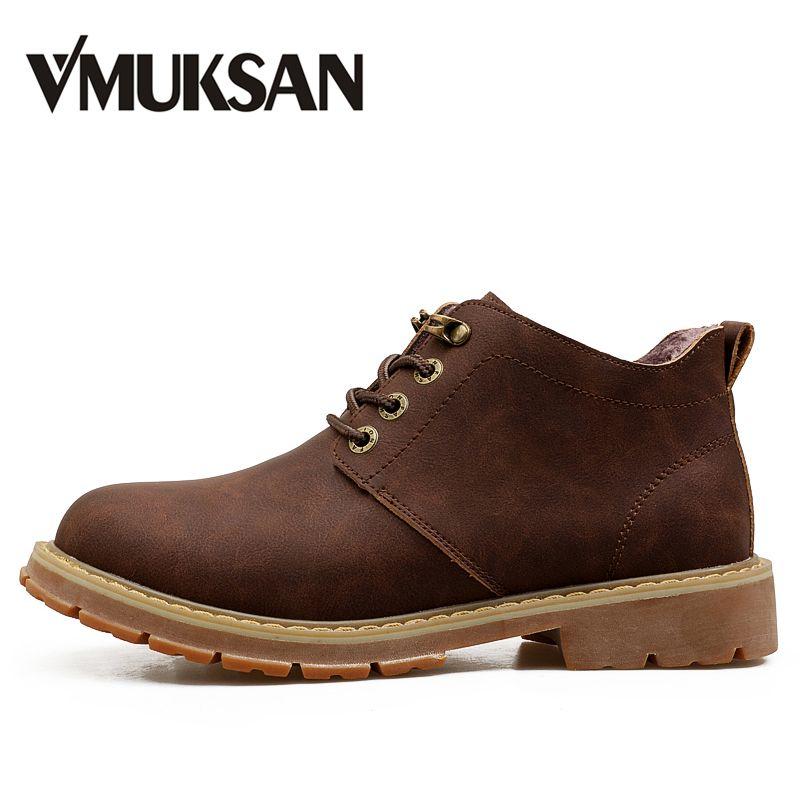 VMUKSAN Горячая распродажа ботинки мужские мода На шнуровке резиновые сапоги Высокое качество дизайнер пушистый тактические ботинки