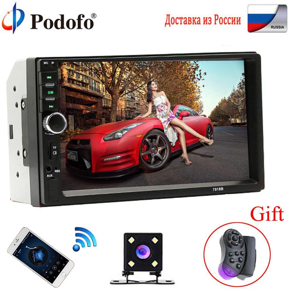 Podofo 2 Din Autoradio Bluetooth 2din lecteur multimédia voiture 7 HD tactile Autoradio MP5 USB Audio stéréo avec caméra de recul
