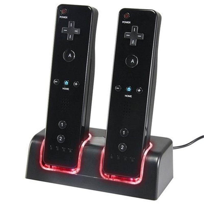 Black Dual Charging Dock Station With Blue LED light  + 2x 2800mAh Rechargeable Battery Pack With for Wii Remote Controller