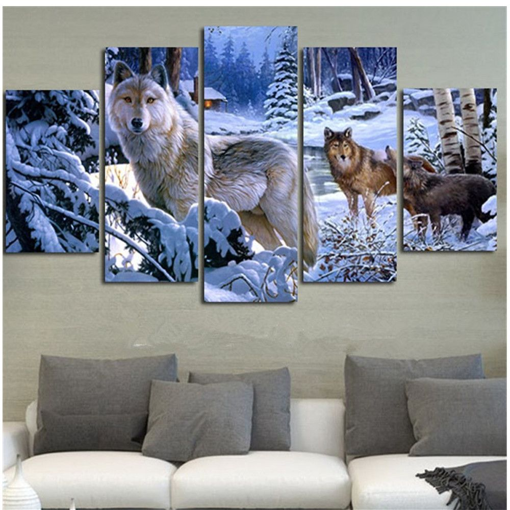 5D Diy Diamond Painting <font><b>Crystal</b></font> Cross Stitch Full Needlework Home Decorative 3D Full Square Diamond Embroidery 5PC/SET Snow Wolf