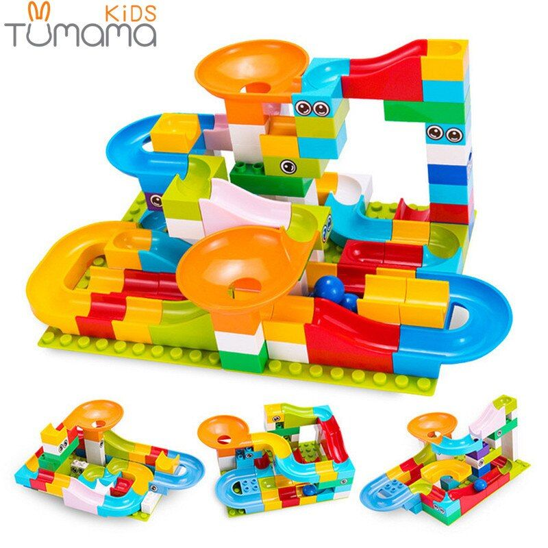 Tumama 52-208Pcs Marble Race Run Maze Balls Track Building Blocks Funnel Slide Big Size Building Brick Compatible Legoed Duploed