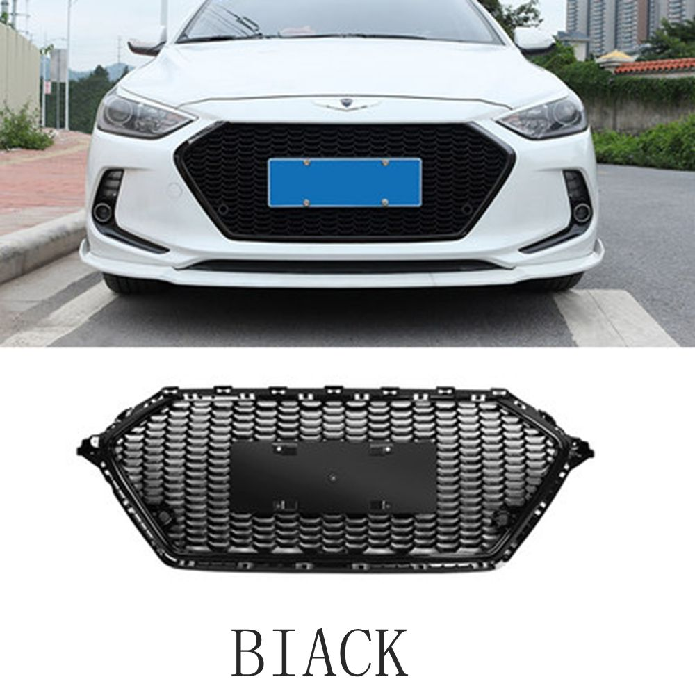 MONTFORD For Hyundai Elantra 2017 2018 ABS Plastic Front Bumper Front Mesh Grille Grille Decoration Cover Trim 1Pcs Car Styling