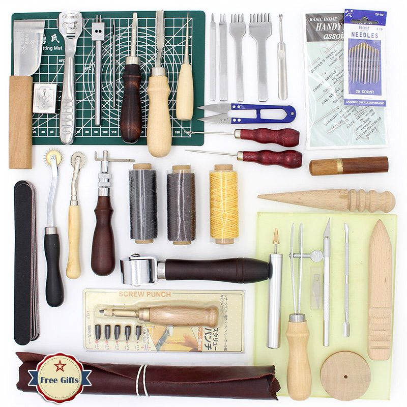 37 Pcs Leather Sewing DIY Craft Hand Stitching Tool Set with Awl Thinning Waxed Thread Thimble Kit Punching Processing