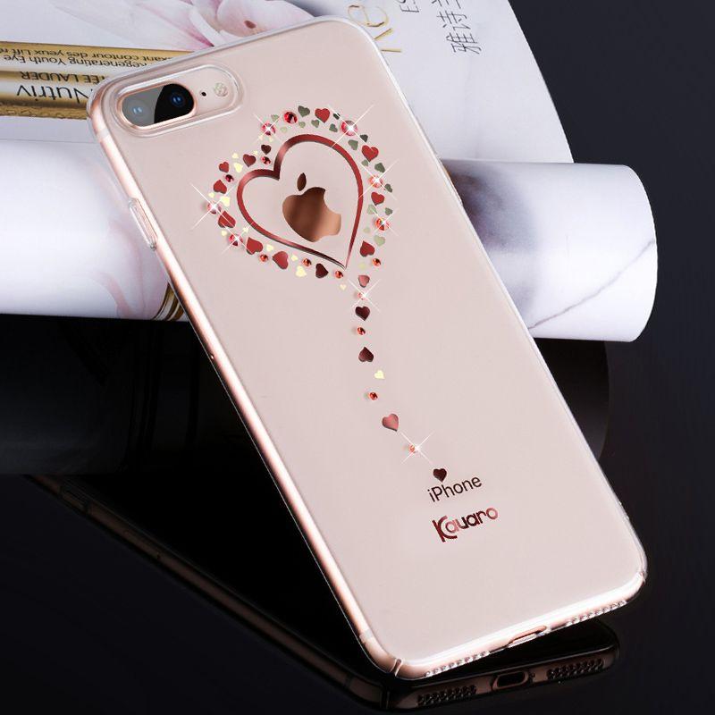 KAVARO for iPhone 8 Plus 7 Plus Case Swarovski Element Crystals Diamond Glitter Plated PC Case for iPhone 7 Plus Cover Coque