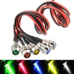 5 STÜCKE LED Metall Indicator light 6mm wasserdichte Signal lampe 6 V 12 V 24 V 220 V mit draht rot gelb blau grün weiß