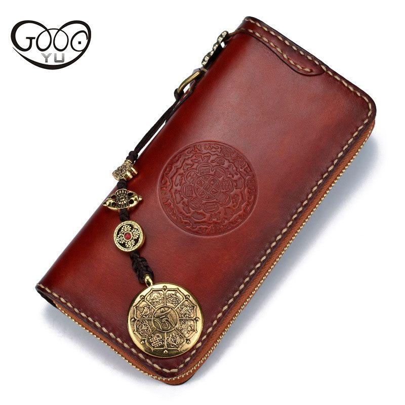 Handgemachte mehl lange brieftasche top rindledermappe schnee lion große volumen durch das buch abzug gegerbtem leder geometrische muster tasche