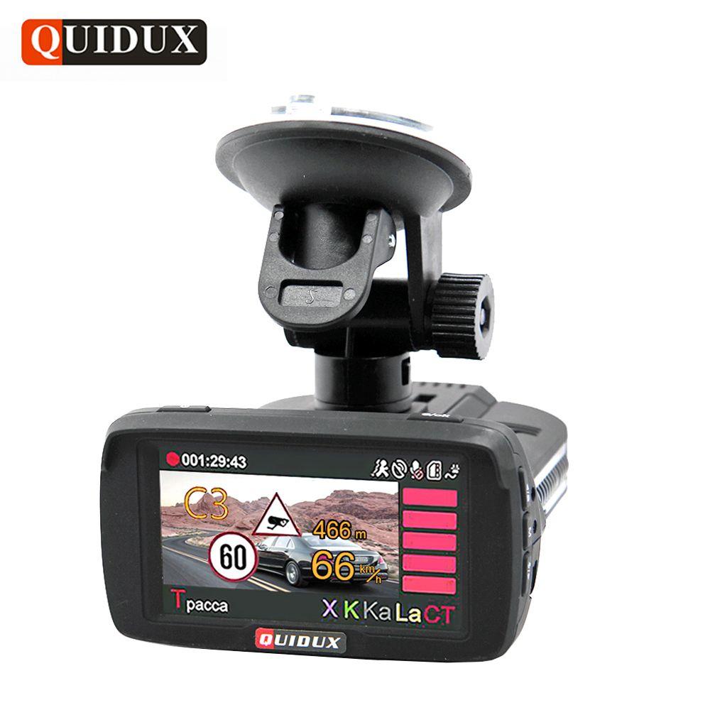 QUIDUX Russia Car DVR 3 in 1 GPS Radar Detector Full HD 1080P Video Camera Recorder ADAS Speedcam avtoregistrator dash camera