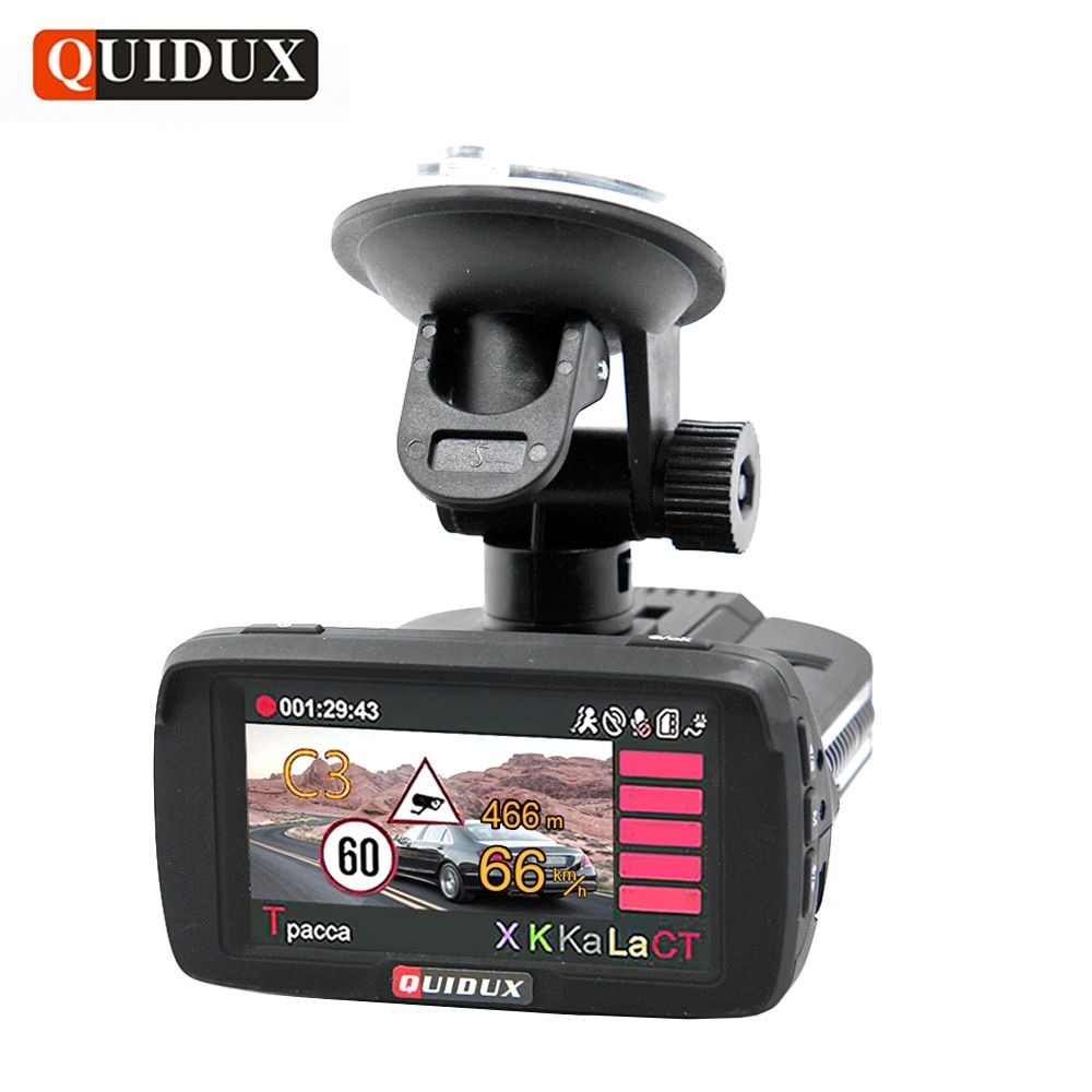 QUIDUX Russian 3 in 1 Radar Detector GPS Car DVR ADAS Full HD 1080P Video Camera Recorder Speedcam avtoregistrator dash camera