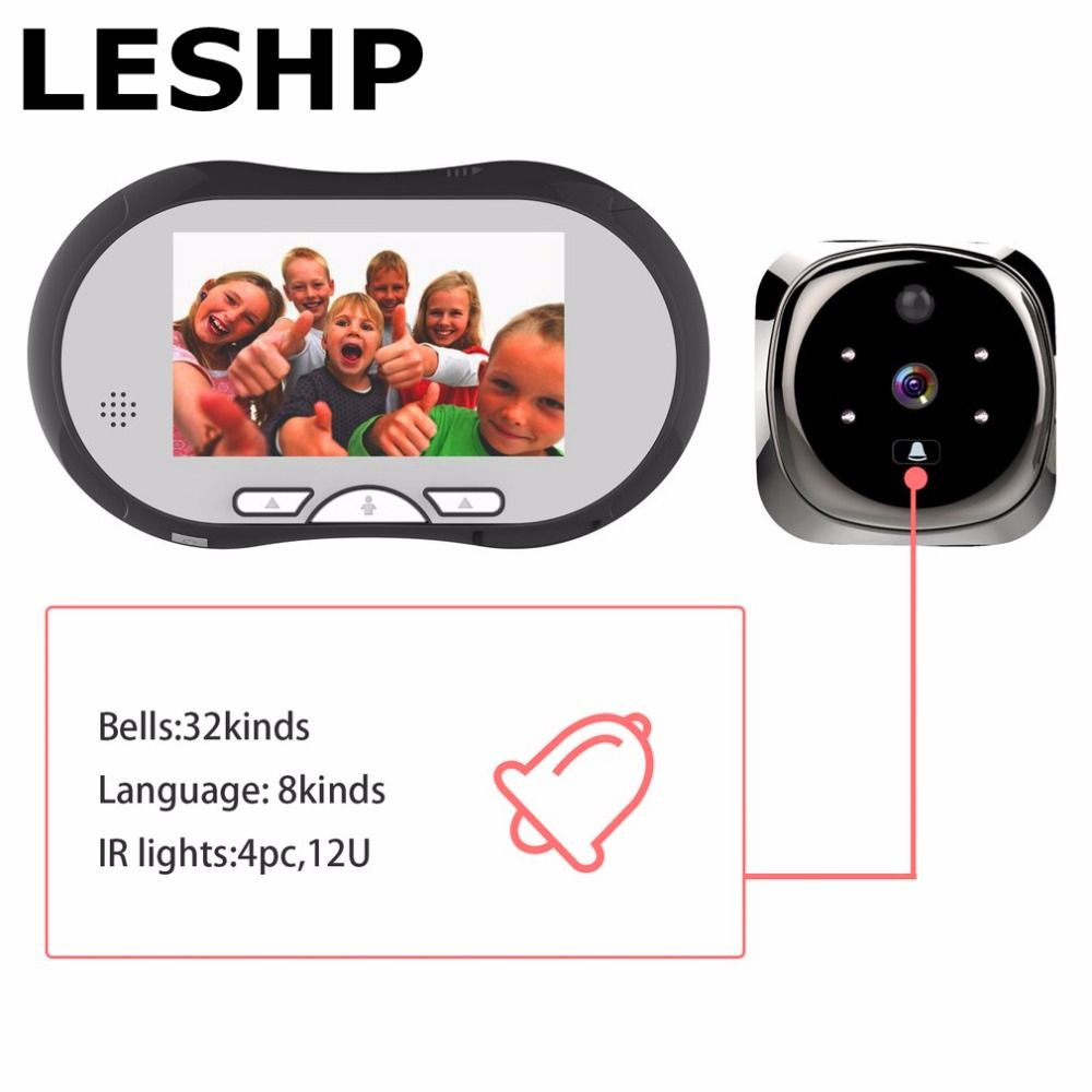 LESHP 4.3 Inch TFT LCD Display Human Body Detector Video Door Phone System Visual Intercom Doorbell Night Vision Indoor Monitor