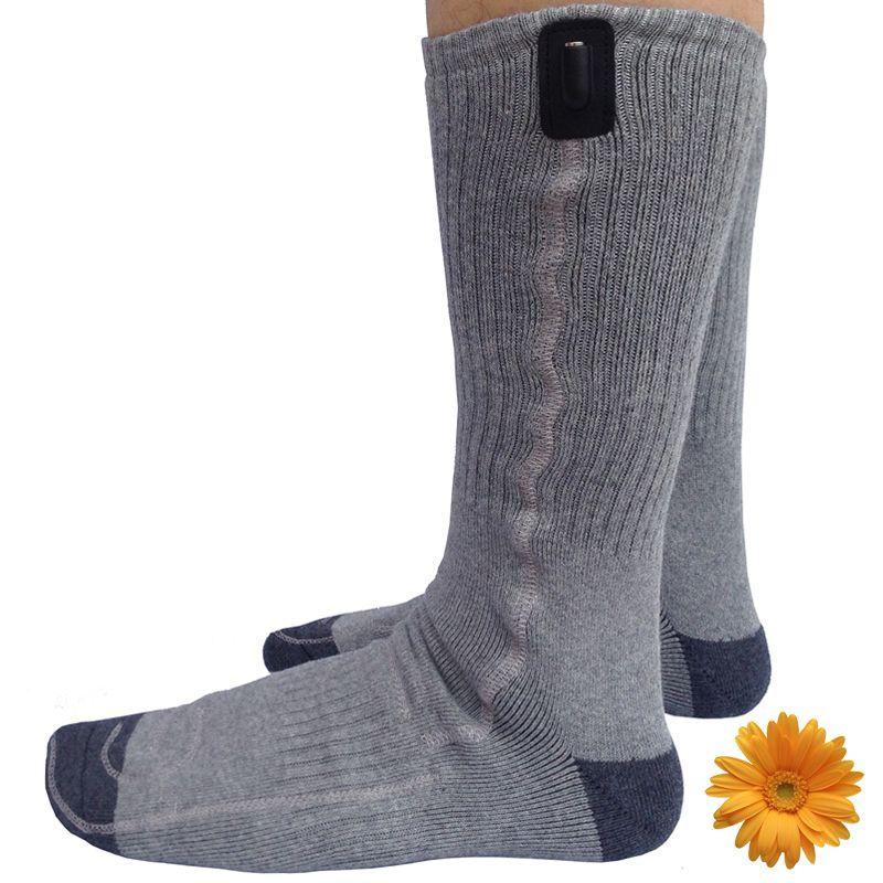 Winter Sports Socks New Year Gift USB Heat Knee High Stockings 5V Battery Heating Foot Warming Cotton Socks Gray Men Women 38-44