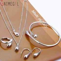 Mode Hochzeit Braut Schmuck Set 925 Gestempelt Silber Wasser Tropfen Armreifen + Halskette + Ringe + Ohrringe Sets für Frauen