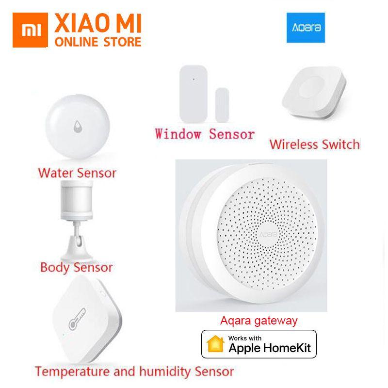 Xiaomi aqara Hub Smart Home Kits Gateway Wall Wireless Switch Humidity Motion Water Door Sensor Two-way Control Module Homekit