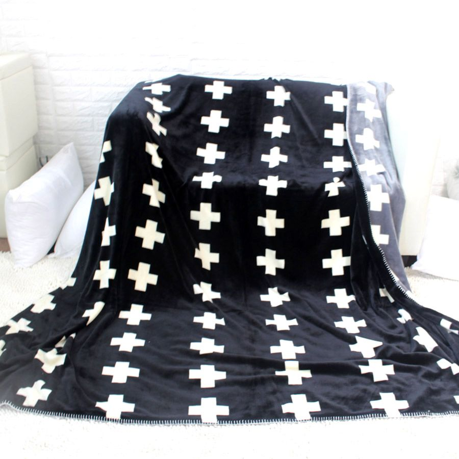 Jesus cross christian black white AB sides double layer flannel fleece thick polyester throw blanket fish star simple blankets
