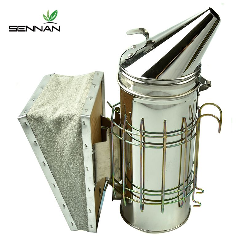 SenNan Stainless Steel Bee Hive Smoker Galvanized Iron With Heat Shield Protection Beekeeping Tool Beekeeping Equipment