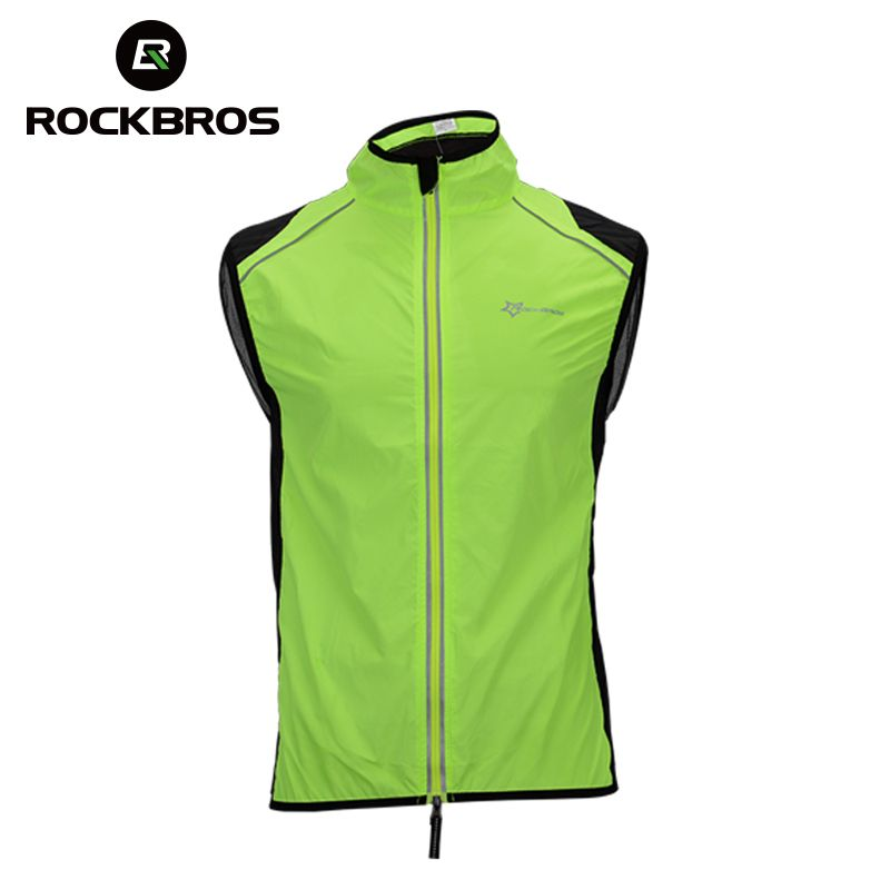 ROCKBROS Reflective Cycling Vests Sleeveless Breathable Men's Waistcoat Cycling Jackets Road MTB Bicycle Running Top Clothing