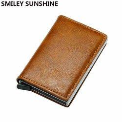 Kualitas Otomatis Aluminium RFID Dompet Pria Tas Uang Mini Dompet Pria Vintage Dompet Pemegang Kartu Tipis Samll Smart Wallet