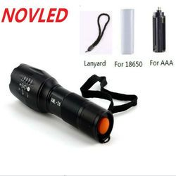 8000 Lumens Flashlight 5-Mode CREE XM-L T6 LED Flashlight Zoomable Focus Torch by 1*18650 Battery or 3*AAA Battery 30% OFF
