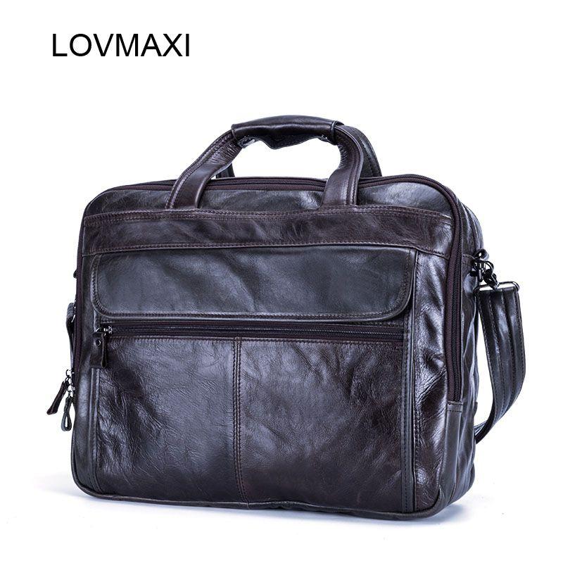 LOVMAXI 2017 100% Echtes Leder männer Aktentaschen für Männliche Business Handtaschen Kausalen Laptop Taschen Umhängetasche Große Reisetasche