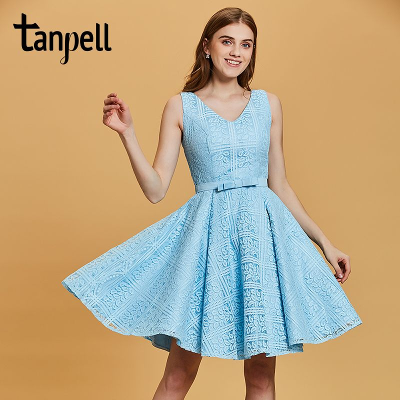 Tanpell v neck homecoming dresses cheap blue sleeveless above knee a line gown women lace ruched short cocktail homecoming dress