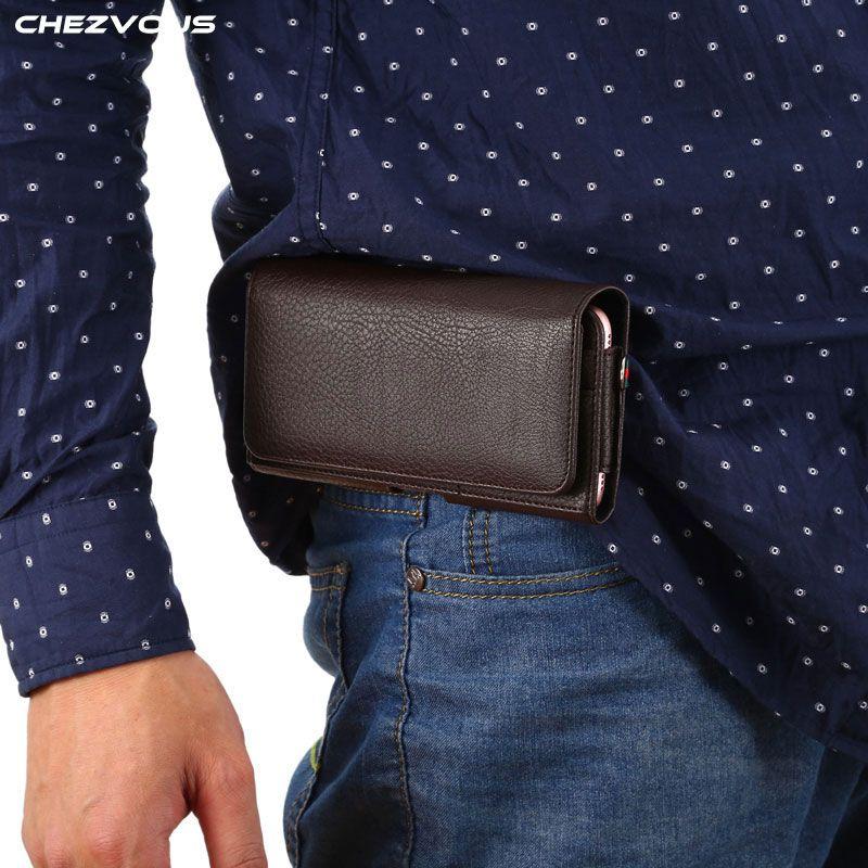 Homme décontracté Vintage taille sac étui de téléphone portable multi-fonction magnétique boucle poche avec porte-carte + dragonne 4.0 ''-6.3''
