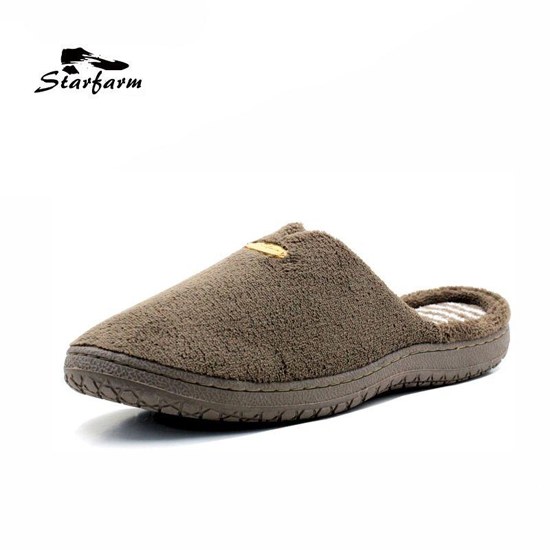 Starfarm пены памяти Шлёпанцы для женщин Короткие Плюшевые ботинки дом Шлёпанцы для женщин мягкие теплые удобные анти-тапки Мужская обувь Для м...