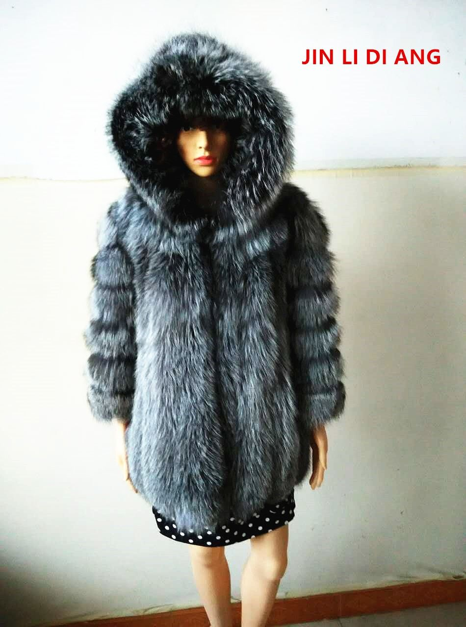 Jin Li Di Ang 2018 Hot Sale Nine Quarter Vertical Stripes Women Natural Real Fox Fur Coat Hooded Jacket Full Pelt