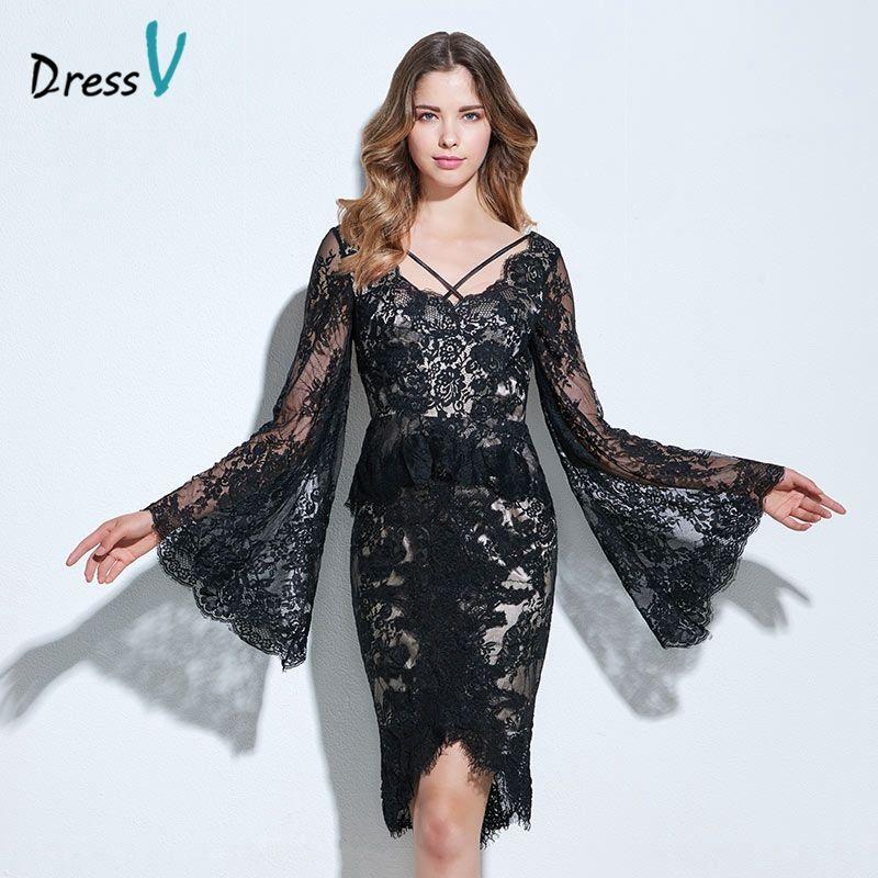 Vestido negro backless atractivo vestido de cóctel vaina/columna de manga larga hasta la rodilla vestidos de cóctel de encaje corto vestido de fiesta formal