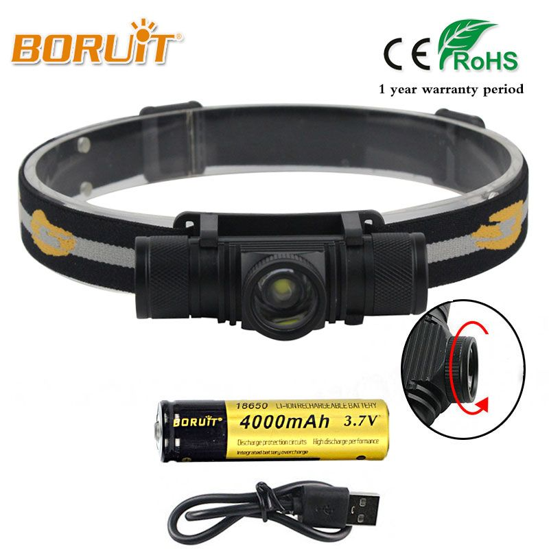 BORUIT Brand 1000LM 10W L2 LED Headlight Mini White Light Zoomable Head Torch Outdoor Sport Headlamp For Camping Fishing Hunting