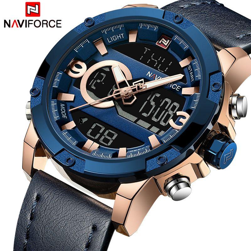 NAVIFORCE Männer Sport Uhren Männlichen Top Luxus Marke Quarz Digitale Uhr Mann Wasserdichte Leder Armee Armbanduhr Relogio Masculino