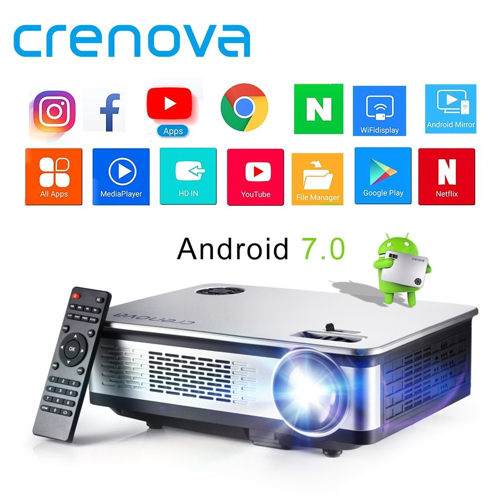 CRENOVA Android Projector With Android 7.1 OS WIFI Bluetooth Projector For Full HD 4K*2K Home Theater Movie Beamer Proyector