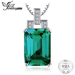 JewelryPalace Luxury 6ct Created Emerald Pendant 925 Sterling Silver Pendant Fashion Jewelry Without Chain