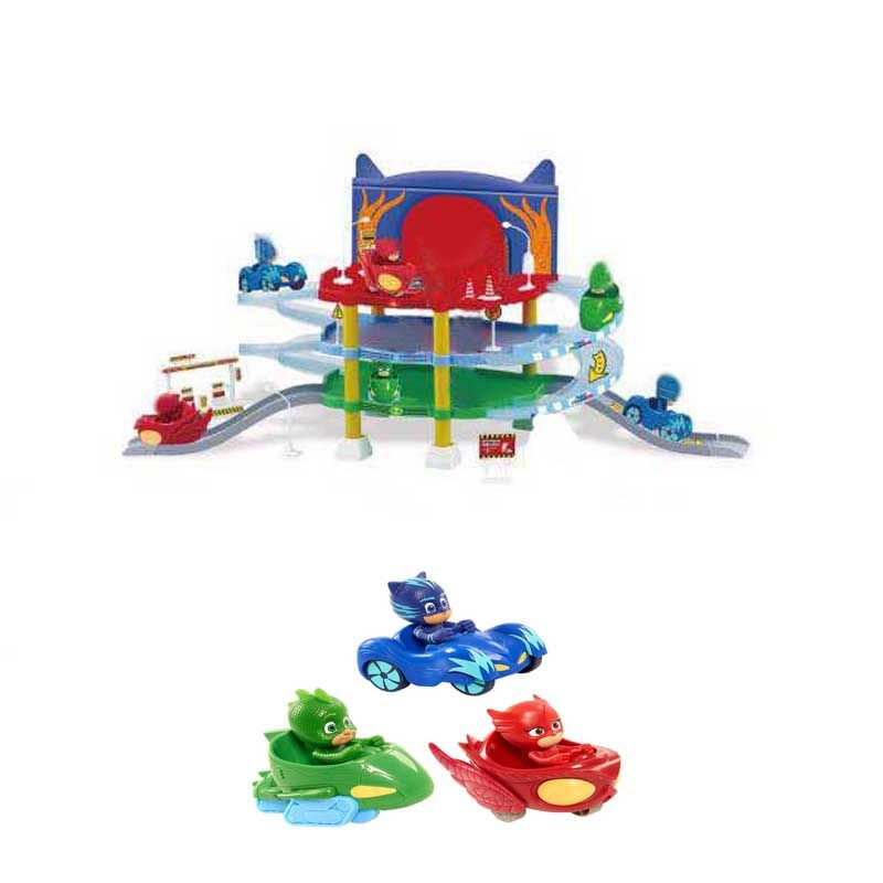 Les Enfants PJ Dessin Mask Racing Track&Car Action Figure Model Toy Pj 3 Floor Parking Spot Jouet Children Christmas Gift Toy