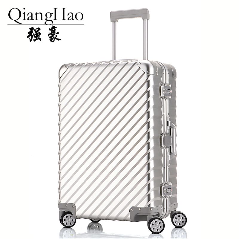 QiangHao 100% All Aluminum Luggage Hardside Rolling Trolley Luggage travel Suitcase 20 Carry on Luggage 24 28 Checked Luggage