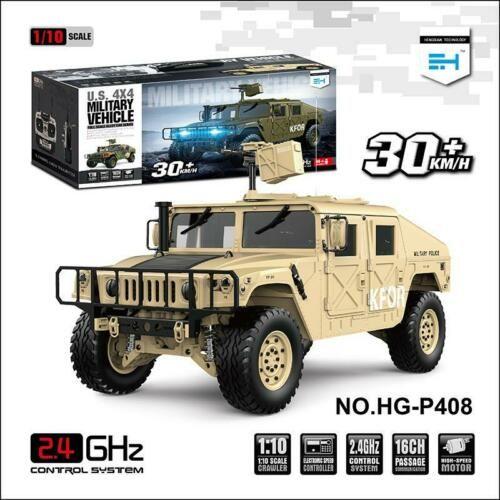 HG 1/10 RC 4*4 Hummer Militär Fahrzeug Gelb P408 Racing Auto Mit ESC Motor Radio Licht Sound System TH15073