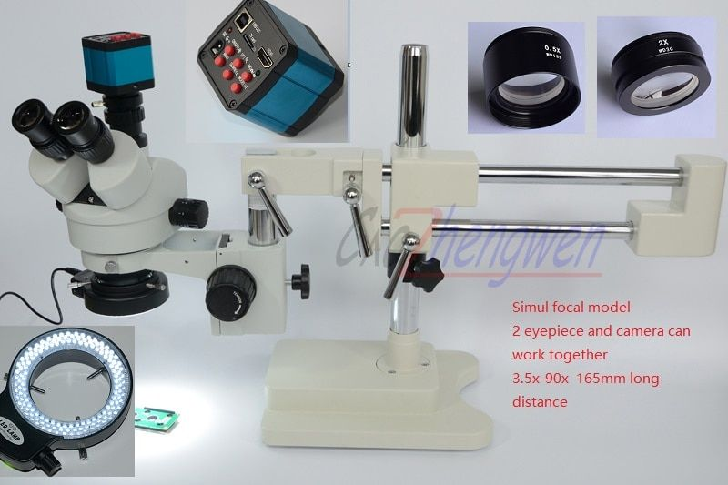 FYSCOPE Microscope Set 3.5X-90X Microscope Double Boom Stand Simul Focal Stereo Zoom Microscope+14MP HDMI camera +144pcs led