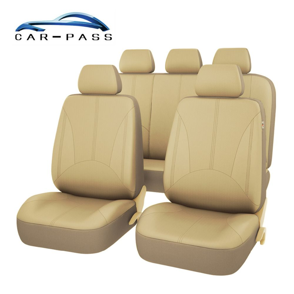 Car-pass Beige Black Gray PU Leather Car Seat Cover Universal Full Seat Covers Cushion Auto Interior Accessories Car-Styling