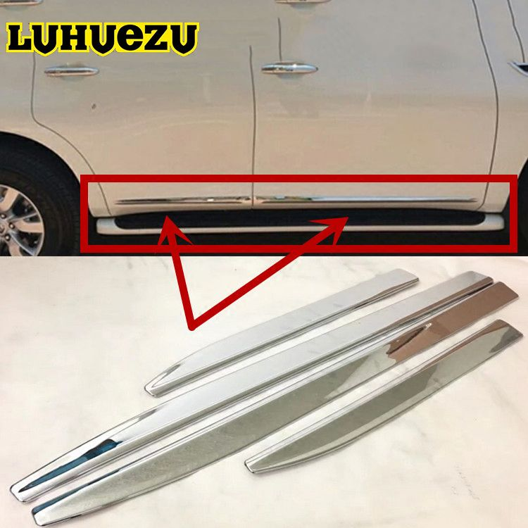 4PCS For Nissan Patrol Y62 Armada Accessories Chrome Door Side Moulding Trim Strip For Nissan Patrol Parts