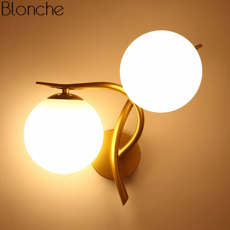 Modern Glass Ball Wall Lamp Led Gold Wall Sconce Loft Industrial Light Living Room Bedroom Stair Home Fixtures Decor Luminaire