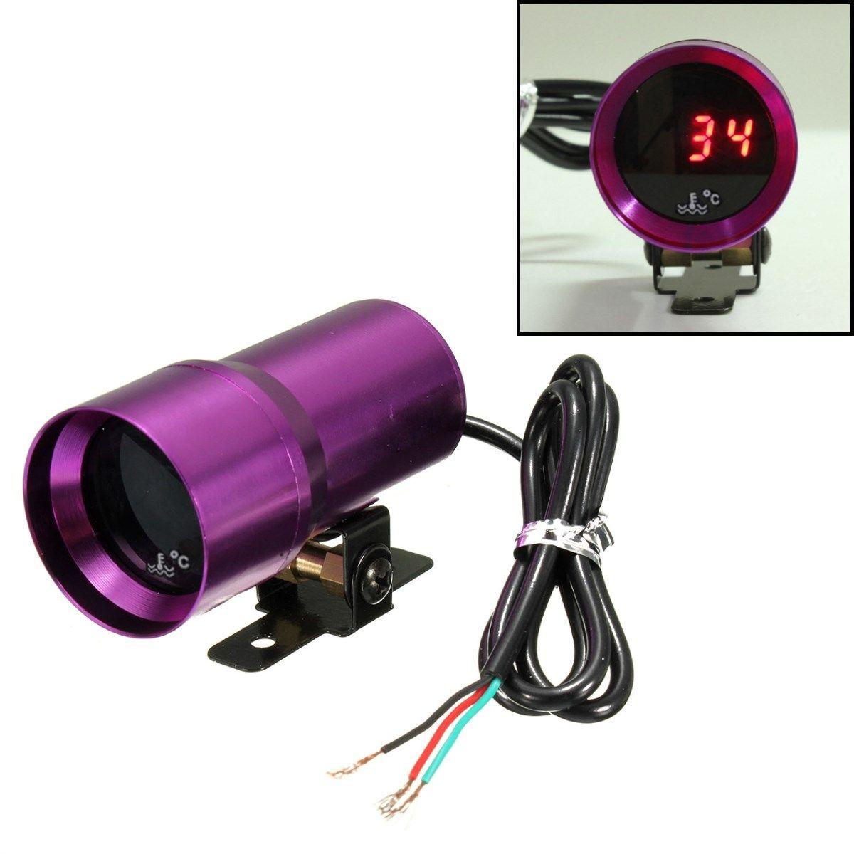 Newest 37mm Univesal Car Water Temp Temperature Gauges Auto Gauge Meter RED Digital Display Purple
