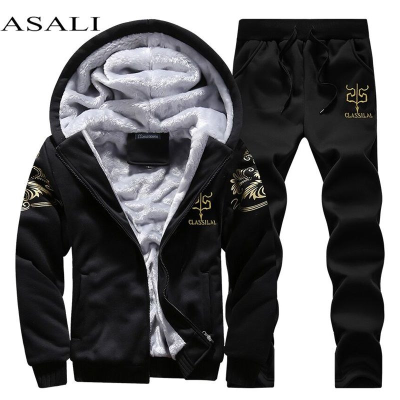 Casual Tracksuit Mens set Winter Brand Two Piece Sets All Cotton Inner Fleece Thick Hooded 2PC Jacket + Pants Sporting Suit Male