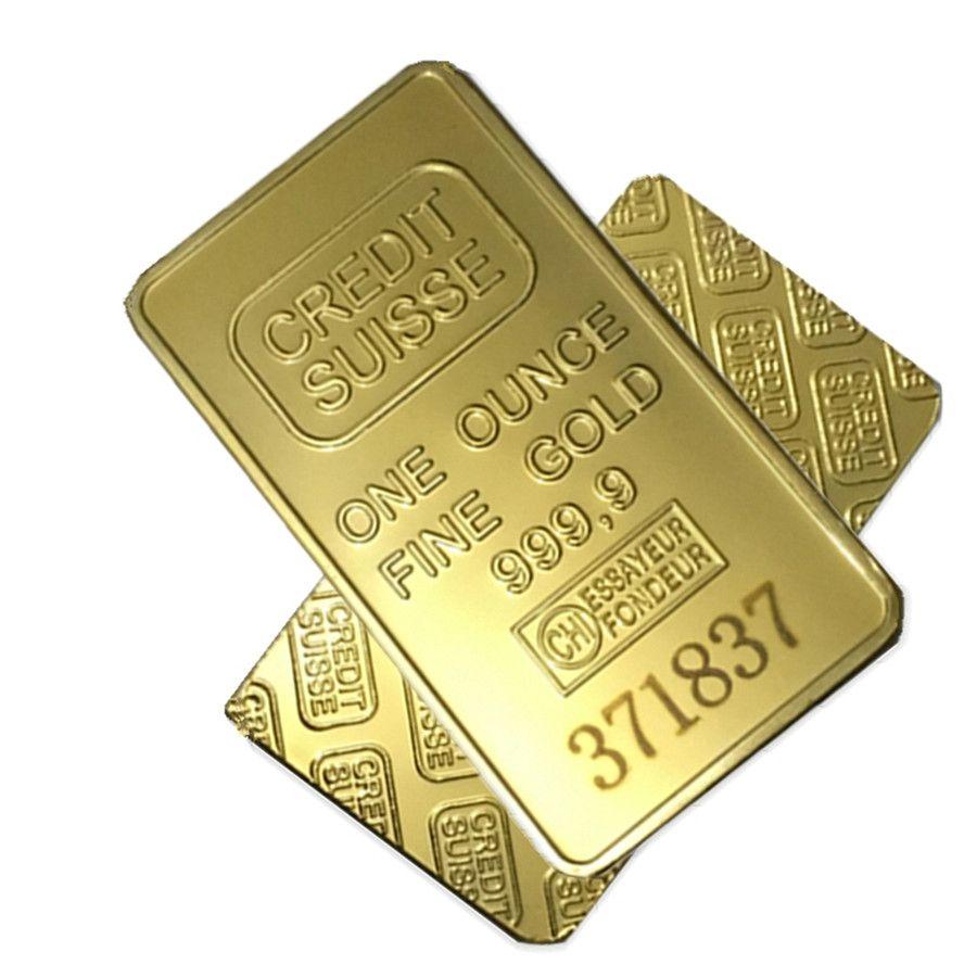 Wholesale 1oz 24ct Gold Plated CREDIT SUISSE Layered Bullion Bar Ingot Replica coin+Switzerland Fake Gold Bar.