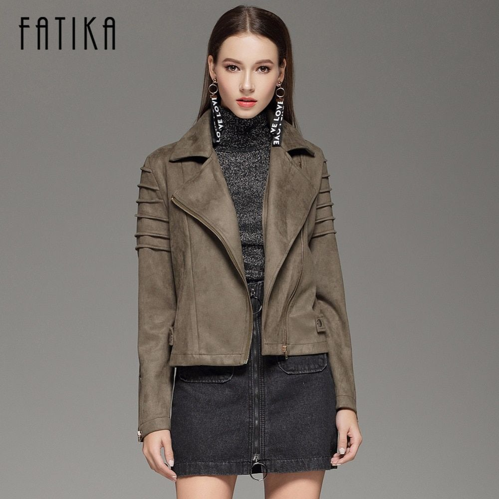 FATIKA 2017 Women Casual Suede Leather Jacket Outwear Turn-down Collar Punk Style Lady Flying Motorcycle Jackets Coats